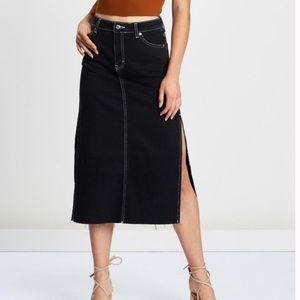Top shop side split denim midi skirt denim skirt